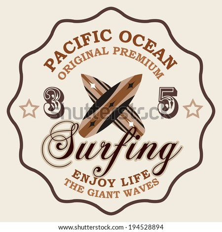 surf elements / vector retro surf label / T-shirt Printing / Badge Applique Label - stock vector