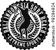 surf embroidery patch - stock vector