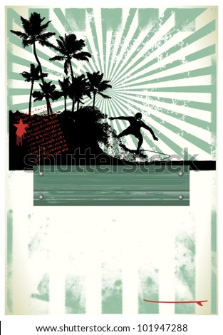surf grunge poster with rider and beauty coast - stock vector