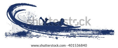surf grunge scene with surfer - stock vector
