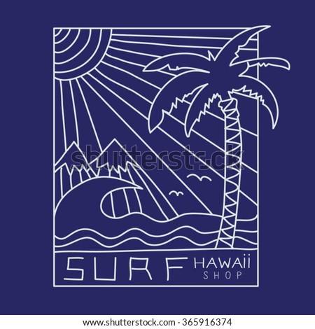 Surf Hawaii typography, t-shirt graphics, vectors - stock vector
