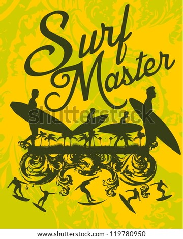 surf master - stock vector