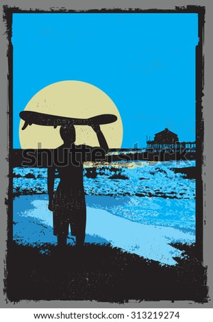 surf poster - stock vector