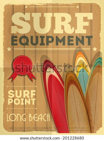 Surf Retro Poster with Surfboards in Vintage Design Style. Vector Illustration. - stock vector