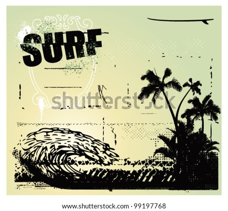 surf scene with big wave palms and table - stock vector