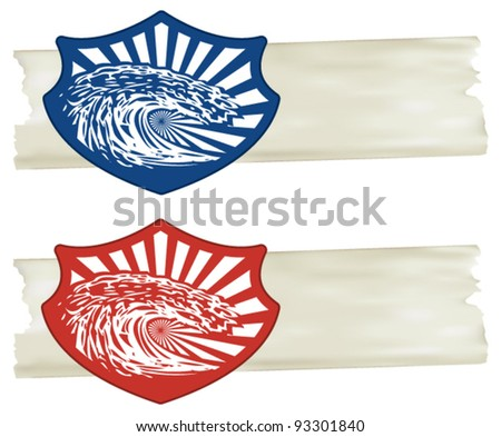 surf shield with big stencil wave and paper background - stock vector