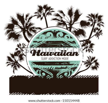 surf shield with palms and grunge banner - stock vector