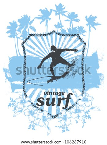 surf shield with rider and grunge vintage background - stock vector