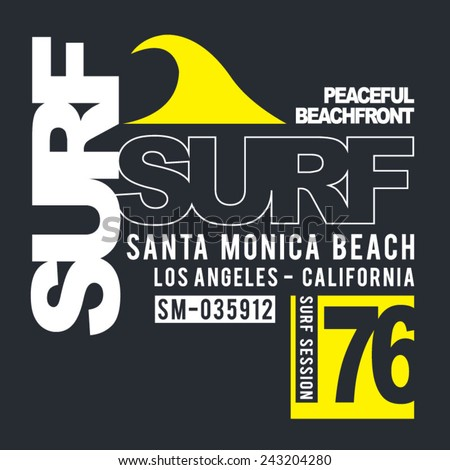 Surf sport typography, t-shirt graphics, vectors - stock vector