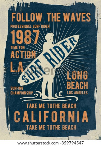 Surf typography, t-shirt graphics, vectors