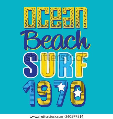Surf  typography, t-shirt graphics, vectors, kids  - stock vector