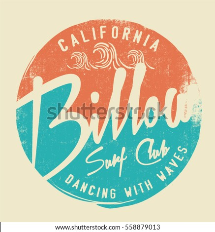 Surf Vintage California Typography Print T Shirt Graphic Design