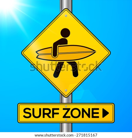 Surf zone yellow vector road sign on sky background
