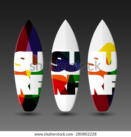 Surfboard Design Templates with Abstract SURF Label - stock vector