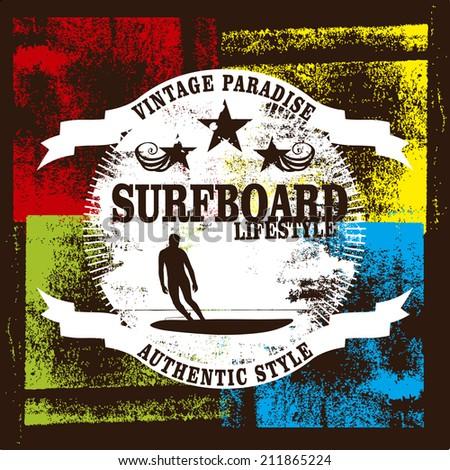 surfboard lifestyle - stock vector