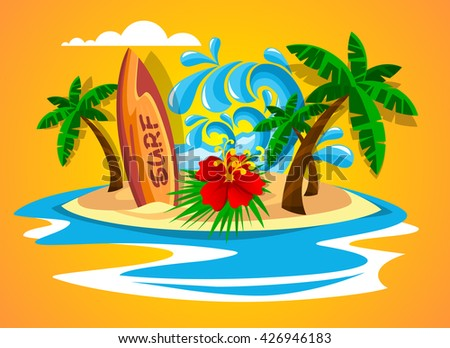 Surfboard on the paradise island. Summer holiday theme