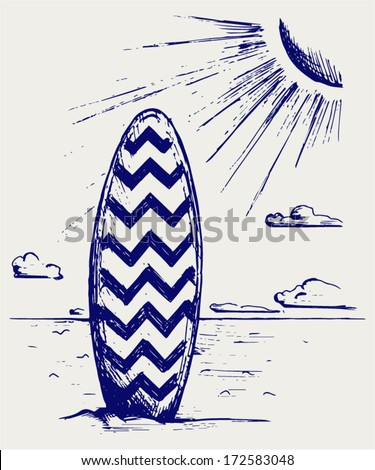 Surfboards on a beach. Doodle style - stock vector