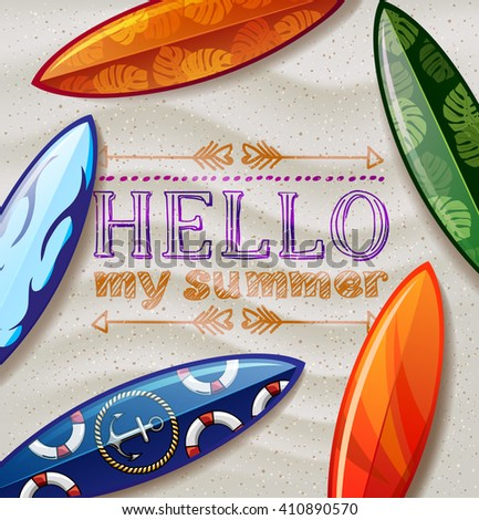 surfboards on the beach. surfboard with color pattern. creative graphic poster for your design.hello summer - stock vector