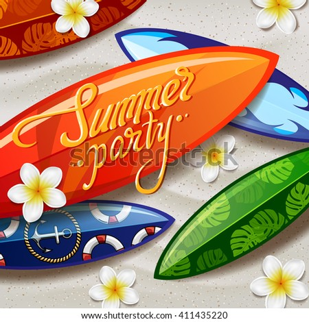 surfboards on the beach. surfboard with color pattern. creative graphic poster for your design. summer party Flyer - stock vector