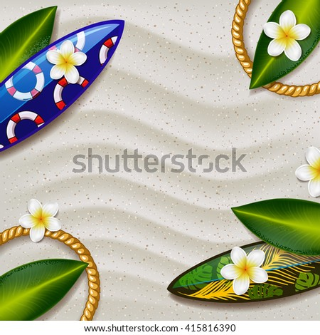 surfboards on the beach with summer tropical green leaves. surfboard with color pattern. creative graphic poster for your design. summer party  - stock vector