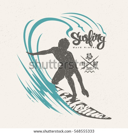 surfer big wave tshirt design stock vector royalty free 568555333