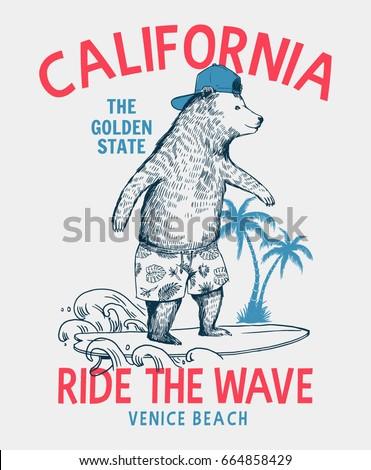 Surfer Bear Vector Illustration California Venice Beach T Shirt Graphic