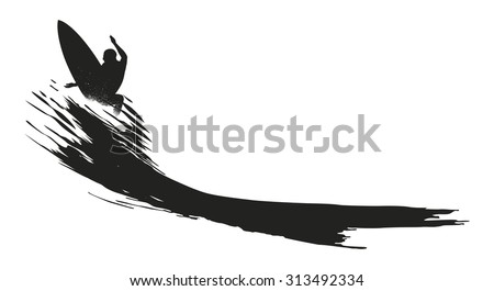 surfer doing the best jump ever - stock vector