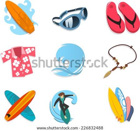 Surfer icon set, with surf board, sunglasses, flip flop, Hawaiian shirt, ocean, wave, ocean wave, necklace, boards, surfer, surfing. Vector illustration cartoon.  - stock vector