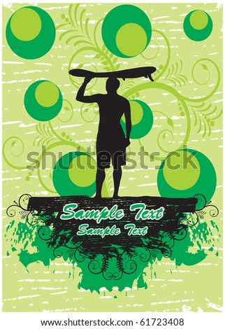 Surfer in green floral background (part of full set) - stock vector