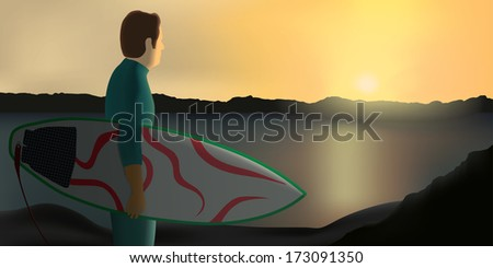 Surfer on a cliff holding his board and looking the sunset in the horizon. Warm colorful composition with silhouetted elements. Has six depth levels. Eps 10 Vector. - stock vector