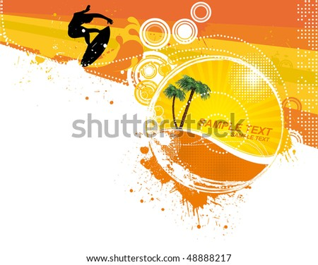 surfer on abstract waves in the summer,floral & grunge elements,vector illustration - stock vector