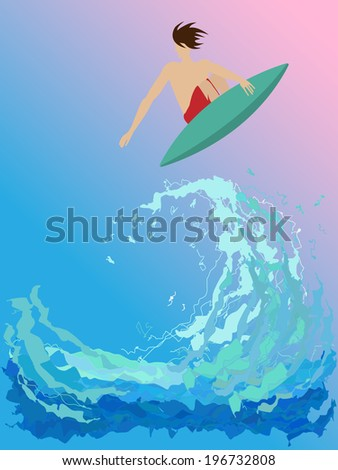 surfer on the wave. vector
