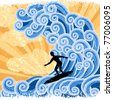 Surfer rides  a big stylized  wave,picture with stylized sunset background and retro style elements. - stock vector