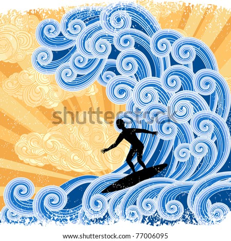 Surfer rides  a big stylized  wave,picture with stylized sunset background and retro style elements.