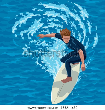 surfer riding a big wave. water background on separate layer.