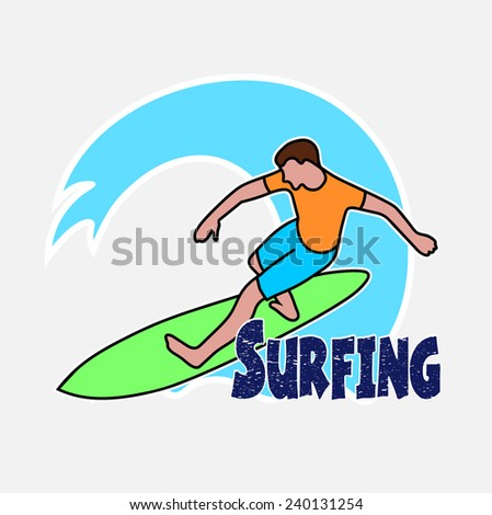 Surfers Drawing On Hawaiian Wave Stock Vector 240270088 - Shutterstock