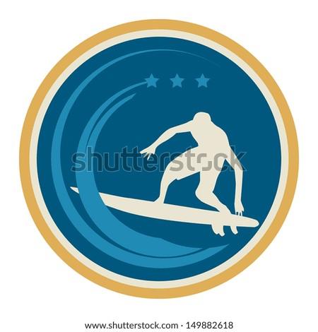 Surfer sign, vector illustration - stock vector
