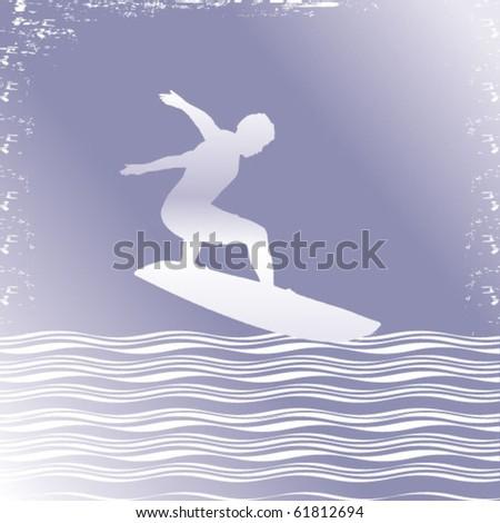 surfer silhouette in frame - stock vector