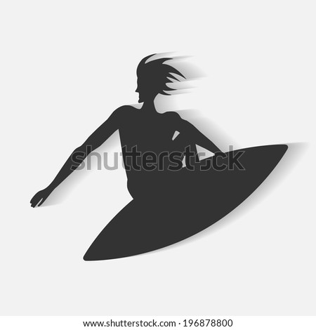 surfer silhouette vector illustration. with blend shadows. eps10 vector  - stock vector