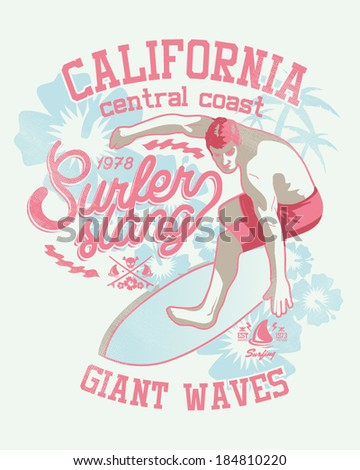 Surfer Vector Graphic for apparel - T shirts - stock vector