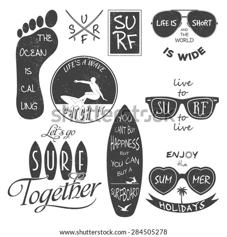 Surfer vector set. Vintage elements and labels. Grunge effect can be edited or removed. It can be used for printing on T-shirts. Vector EPS10 illustration.  - stock vector