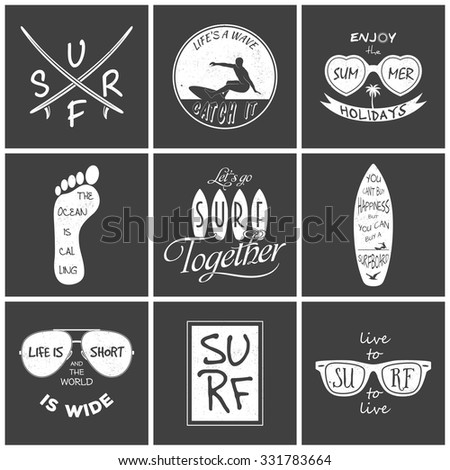 Surfer vector set. Vintage elements and labels. Grunge effect can be edited or removed. Vector EPS8 illustration.  - stock vector