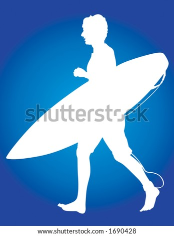 Surfer vector silhouette jogging with his surf board to his favorite break. - stock vector