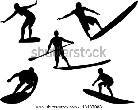 surfers collection vector - stock vector