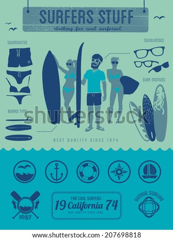 Surfers stuff - vintage surfer labels, symbols & illustration - stock vector