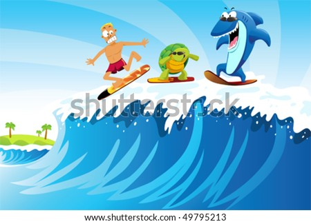 Surfing against Shark and Turtle A man surfing on the sea followed by turtle and shark with sunglasses.