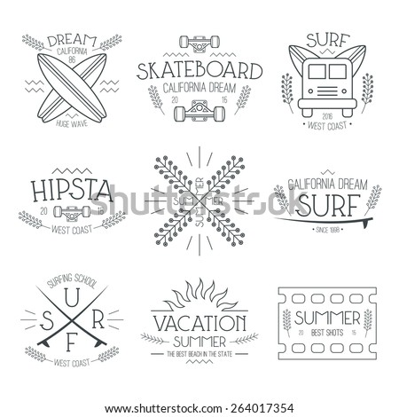 Surfing and vacation emblem in thin line style. Graphic design for t-shirt. Black print on a white background  - stock vector