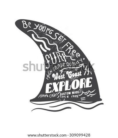 surfing artwork for clothing 6 - stock vector