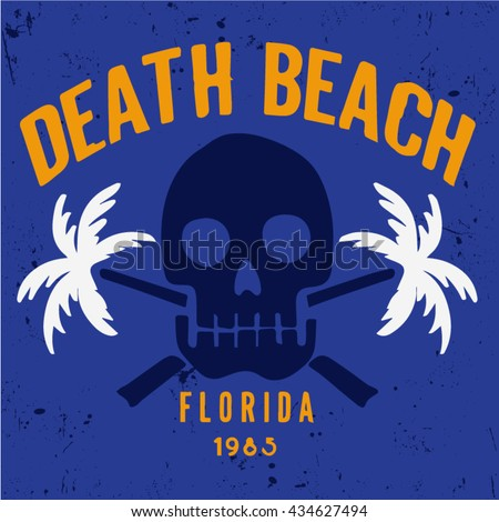 Surfing artwork. palm beach Black's beach California. T-shirt apparel print graphics. Original graphics Tee skull beach illustration - stock vector