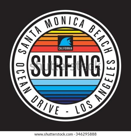 Surfing California typography, t-shirt graphics, vectors - stock vector